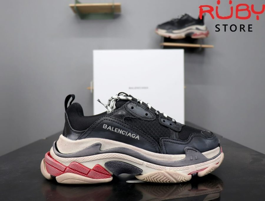 giày balenciaga triple s replica 1:1 đen đỏ