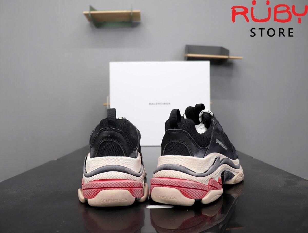 Phần gót giày Balenciaga Triple S Đỏ Đen
