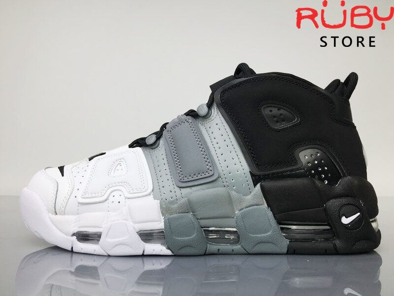 Giày Nike Uptempo Tri-Color 3 màu trên sàn nhà mặt trái