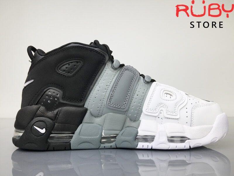 Giày Nike Uptempo Tri-Color 3 màu trên sàn nhà mặt bên phải