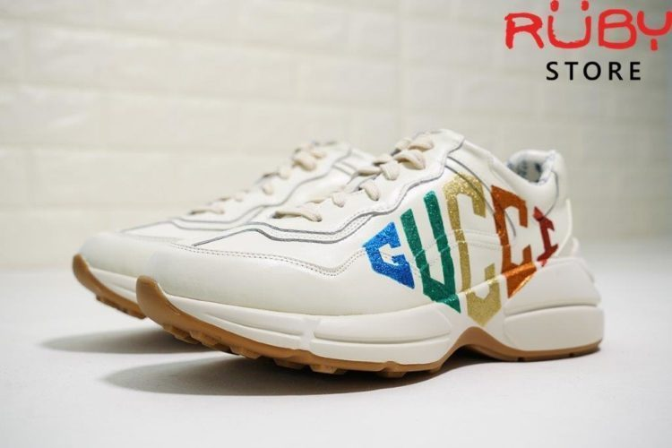 RHYTON GLITTER GUCCI LEATHER SNEAKER (5)