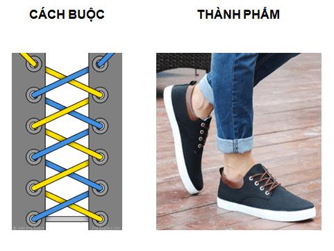 cách thắt dây giày 5 lỗ bằng xương cá