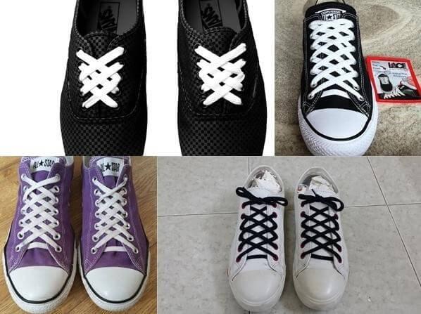 cách thắt dây giày 5 lỗ hình kim cương