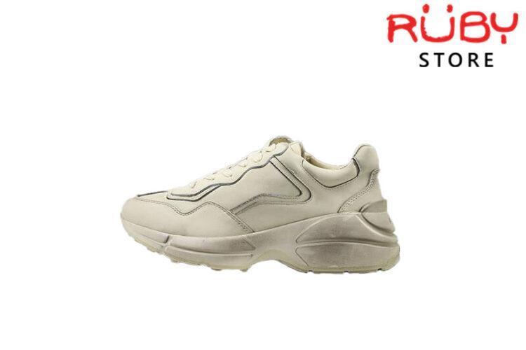 Giày Gucci Rhyton leather sneaker trơn bẩn