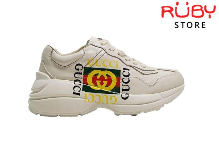 Giày Gucci Rhyton Logo Gucci Leather Sneaker Cao Cấp