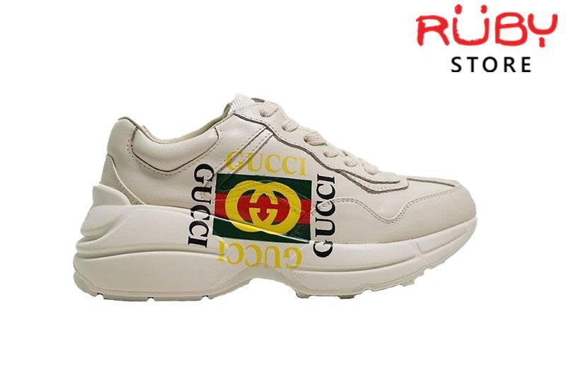Giày Gucci Rhyton Logo Gucci Leather Sneaker Cao Cấp