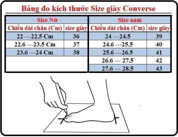 Bảng tính size giày Converse ở Việt Nam