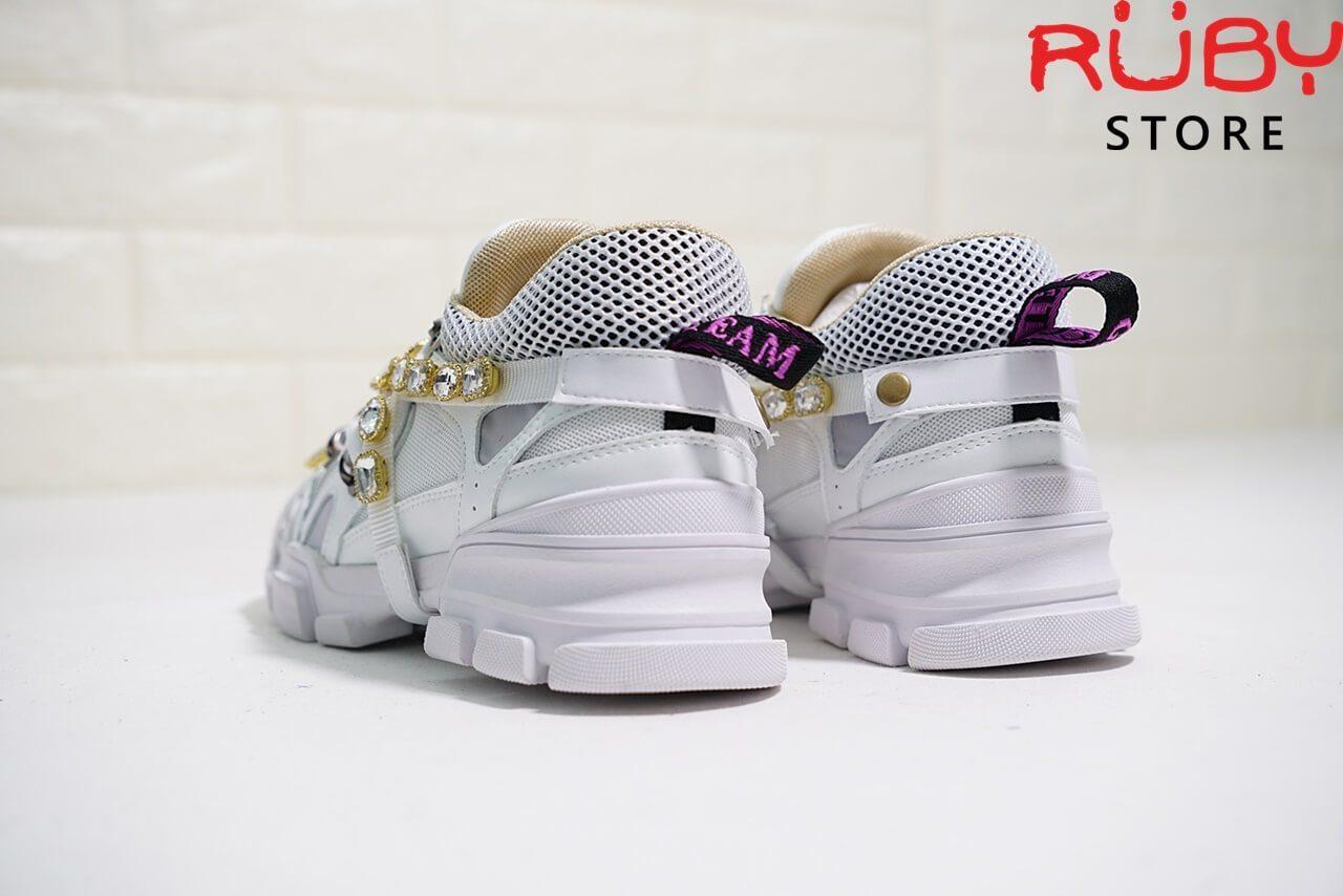 Giày Gucci Flashtrek Sneaker With Removable Crystals Replica 1:1 (Trắng) - phần gót