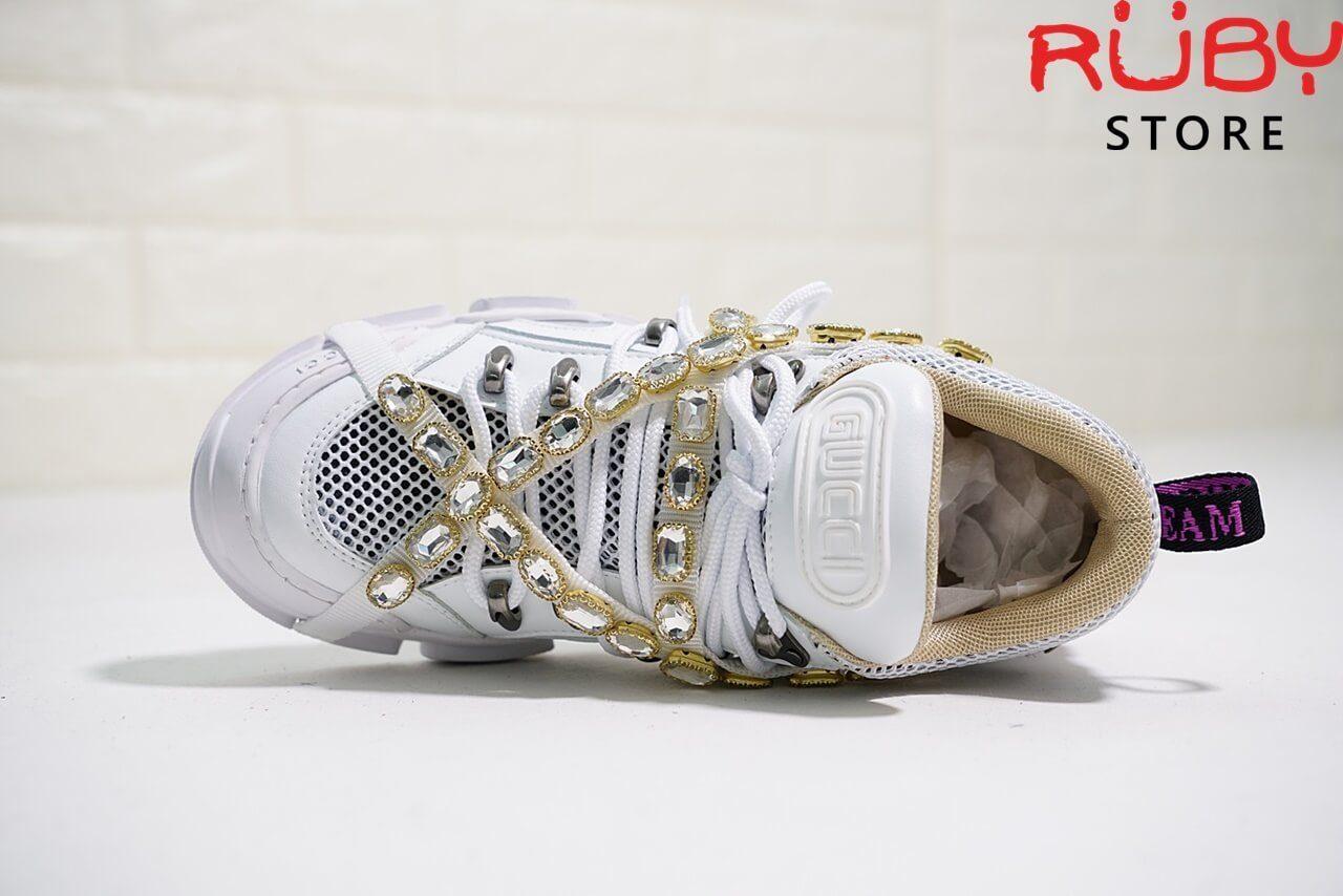 Giày Gucci Flashtrek Sneaker With Removable Crystals Replica 1:1 (Trắng) - phần upper và lưỡi gà