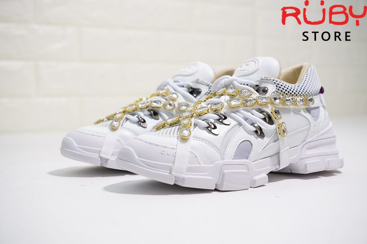Giày Gucci Flashtrek Sneaker With Removable Crystals Replica 1:1 (Trắng) - tổng thể