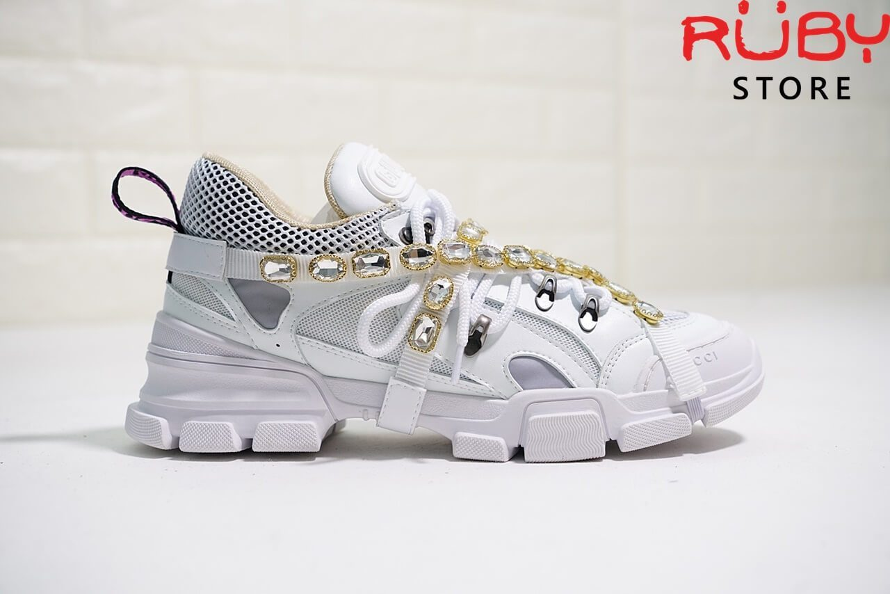 Giày Gucci Flashtrek Sneaker With Removable Crystals Replica 1:1 (Trắng) - mặt phải