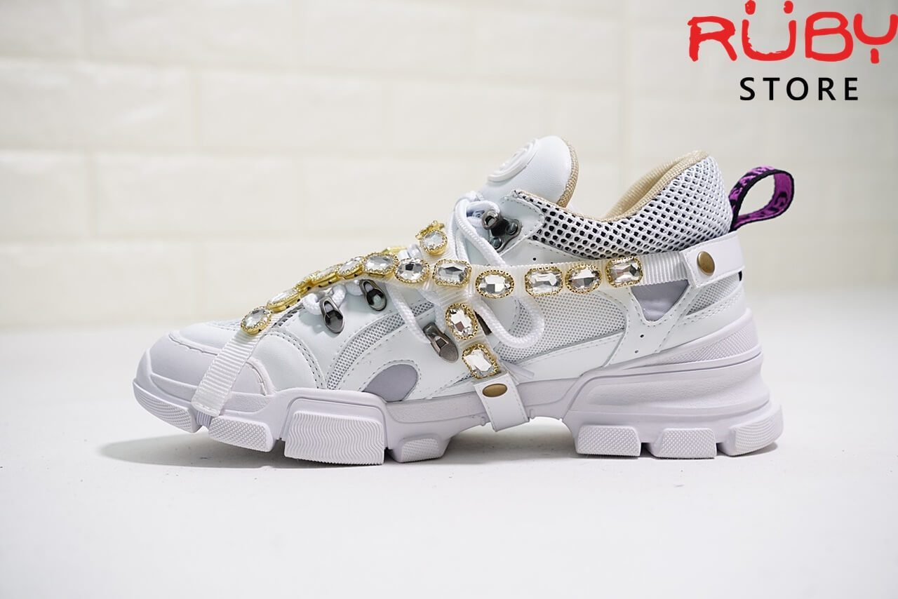 Giày Gucci Flashtrek Sneaker With Removable Crystals Replica 1:1 (Trắng) - mặt trái