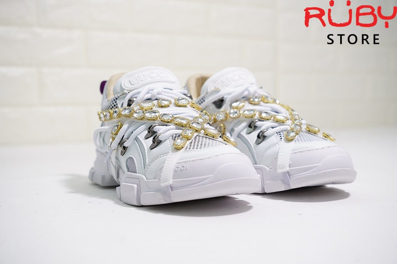 Giày Gucci Flashtrek Sneaker With Removable Crystals Replica 1:1 (Trắng) - phần upper