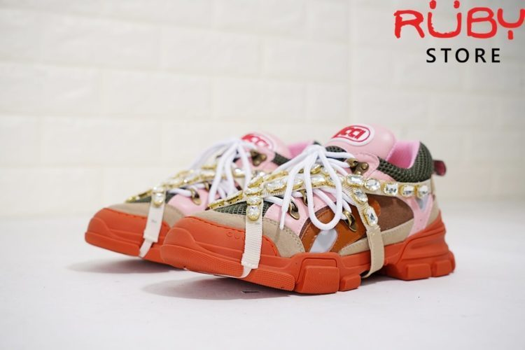 Giày Gucci Flashtrek Sneaker With Removable Crystals Replica 11 (Hồng Cam) (8)