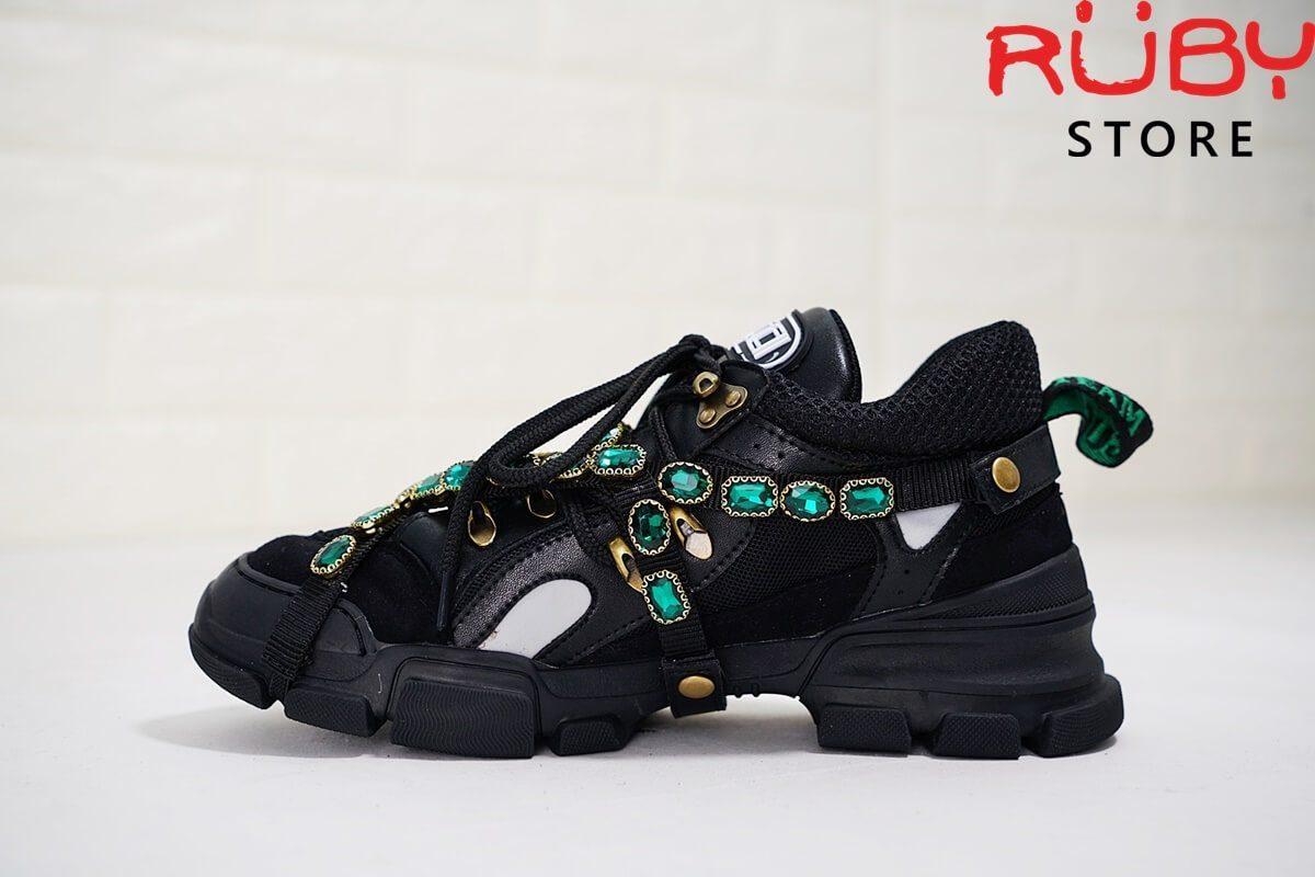 giày gucci slashtrek sneaker black replica1:1 GLITTER GUCCI LEATHER SNEAKER ĐEN (2)