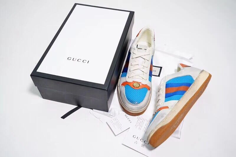 Giày Gucci Screener Leather Sneaker Replica 1:1 (Trắng Xanh Cam) 2019