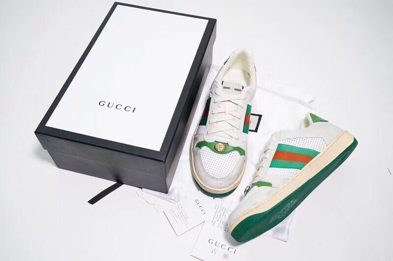 Giày Gucci Screener Leather Sneaker Replica 1:1 (Trắng Xanh Lá Gucci) 2019