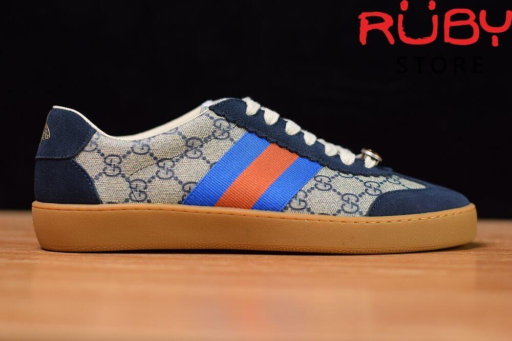 Giày-Gucci- G74-Original-GG-Sneaker-With-Web-Replica-1.1-2019-(Xanh) (2)