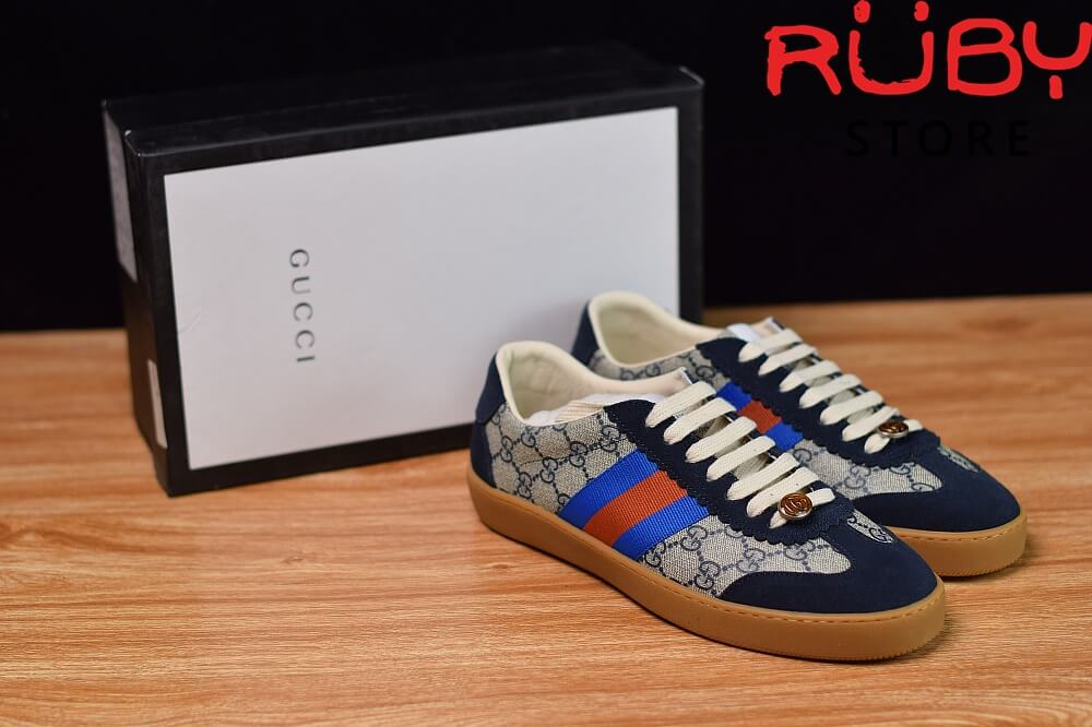 Giày-Gucci- G74-Original-GG-Sneaker-With-Web-Replica-1.1-2019-(Xanh) (5)