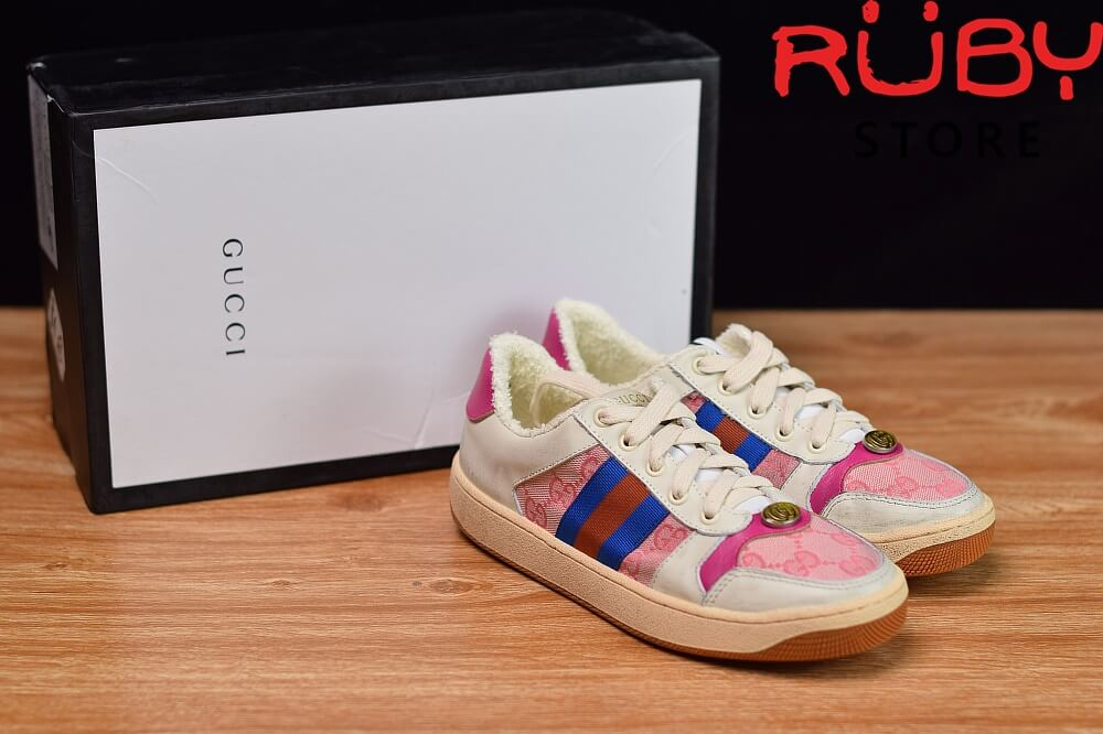 Giày-Gucci-Screener-Leather-Sneaker-Replica-1.1- (Trắng-hồng ) 2019 (1)