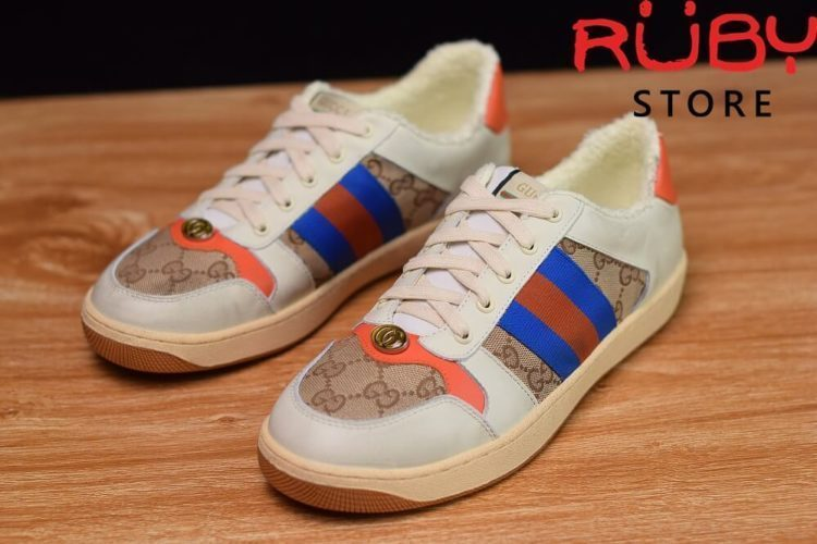 Giày-Gucci-Screener-Leather-Sneaker-Replica 1.1-trắng-xanh-cam-nâu (2)