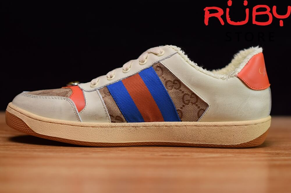 Giày-Gucci-Screener-Leather-Sneaker-Replica 1.1-trắng-xanh-cam-nâu (3)