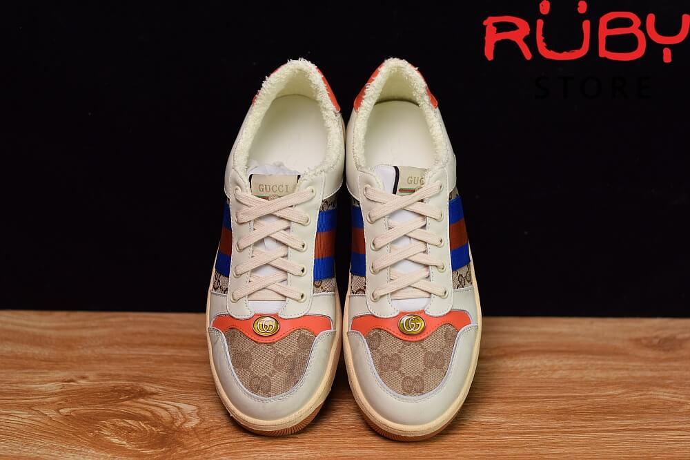 Giày-Gucci-Screener-Leather-Sneaker-Replica 1.1-trắng-xanh-cam-nâu (4)
