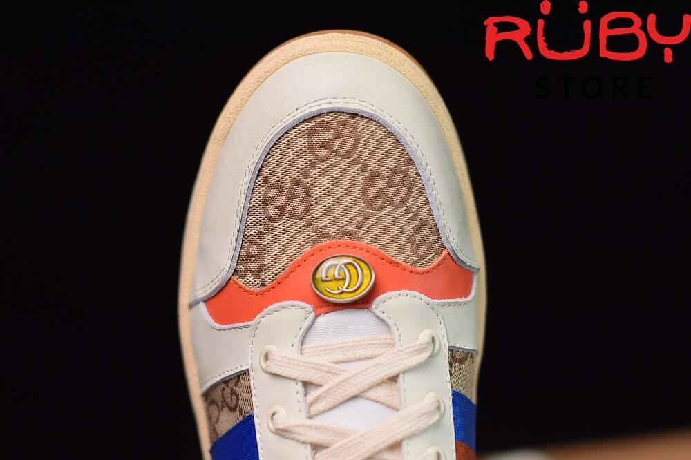 Giày-Gucci-Screener-Leather-Sneaker-Replica 1.1-trắng-xanh-cam-nâu (5)