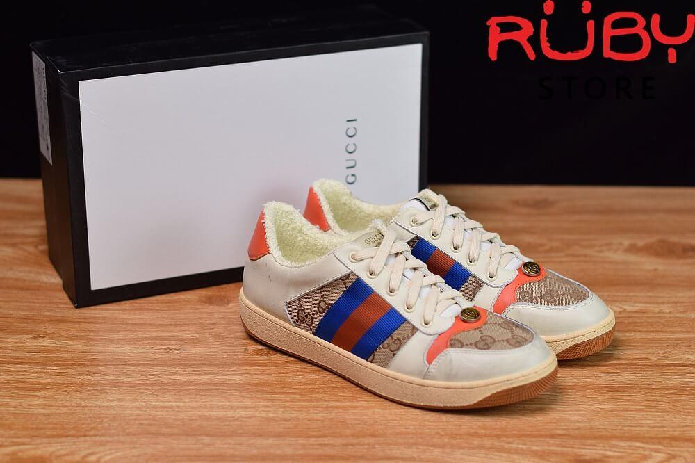 Giày-Gucci-Screener-Leather-Sneaker-Replica 1.1-trắng-xanh-cam-nâu (7)