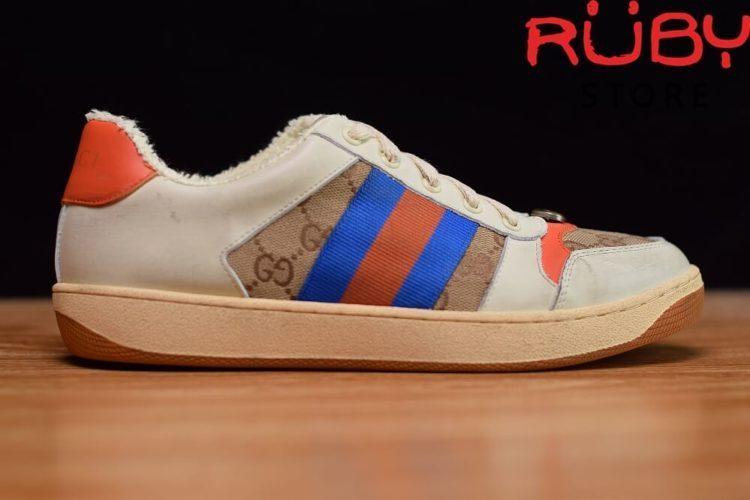 Giày-Gucci-Screener-Leather-Sneaker-Replica 1.1-trắng-xanh-cam-nâu (8)