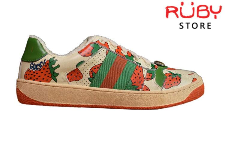 Giày Gucci Screener Strawberry Sneaker Replica 1:1 (New 2019)