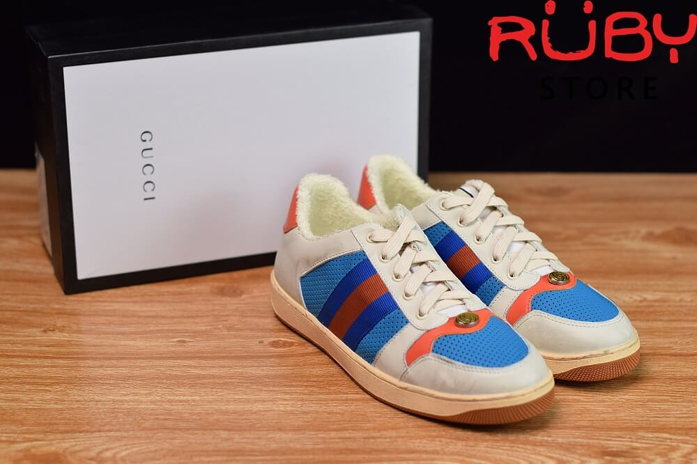 giày-gucci-Screener-Leather-Sneaker(trắng xanh cam) (1)
