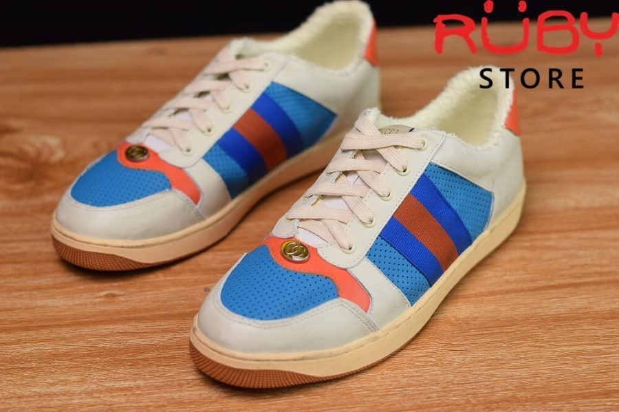 giày-gucci-Screener-Leather-Sneaker(trắng xanh cam) (4)
