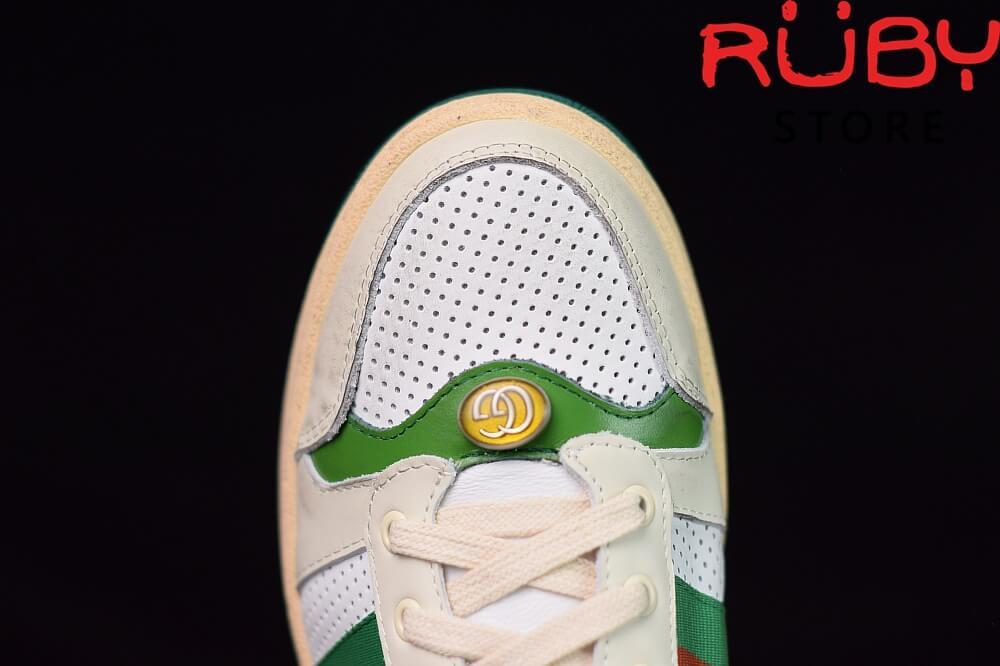 giày-gucci-Screener-Leather-Sneaker(trắng xanh lá) (1)