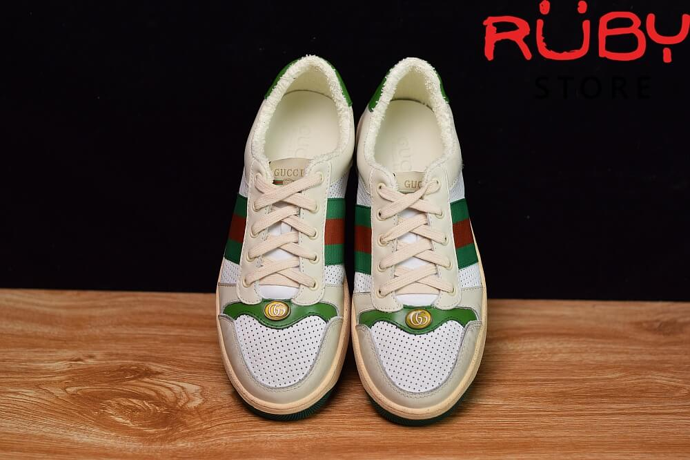 giày-gucci-Screener-Leather-Sneaker(trắng xanh lá) (3)