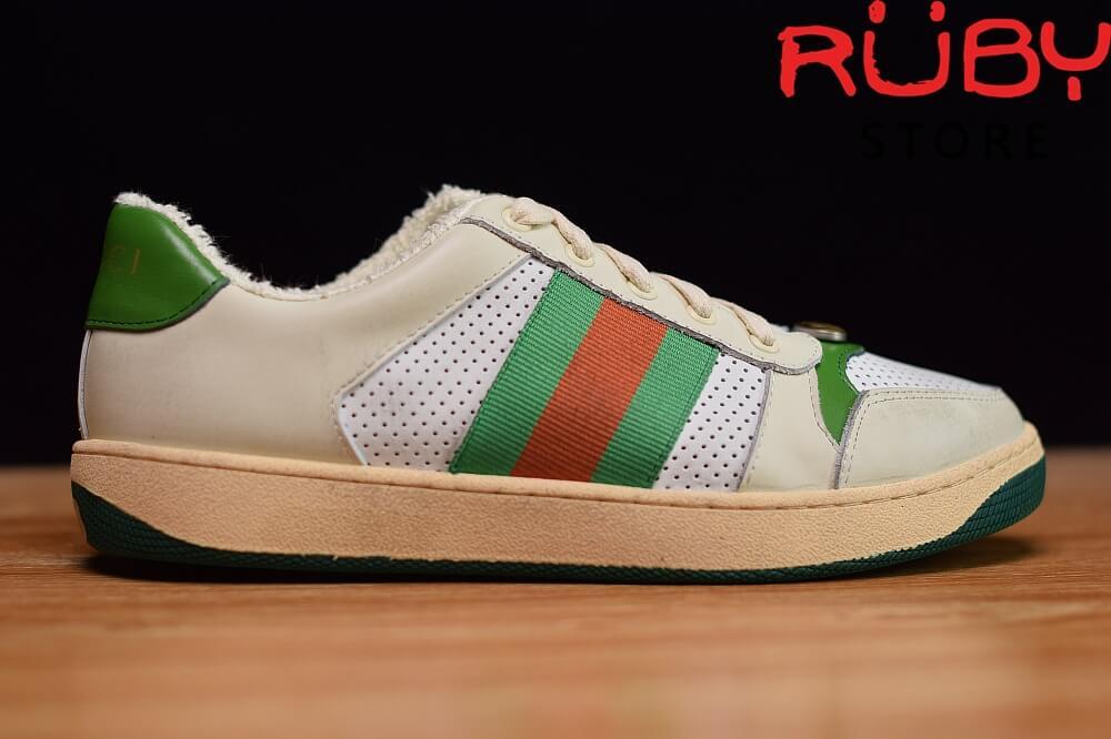 giày-gucci-Screener-Leather-Sneaker(trắng xanh lá) (5)