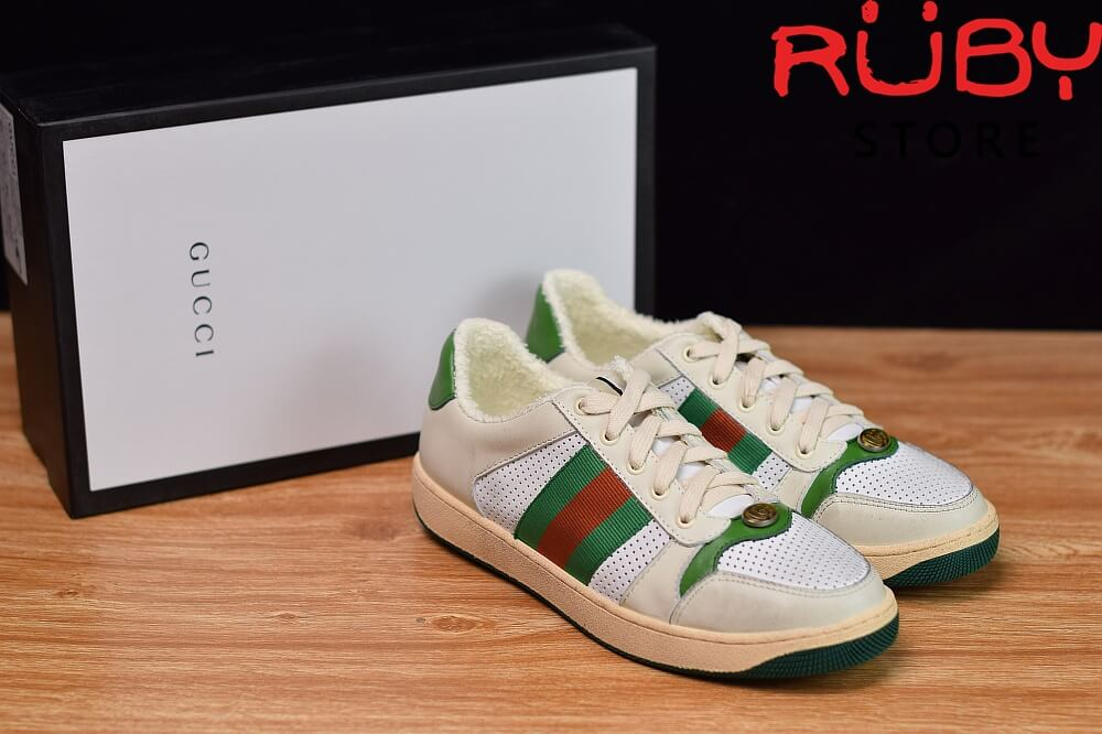 giày-gucci-Screener-Leather-Sneaker(trắng xanh lá) (7)