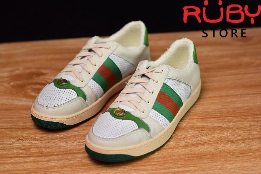 giày-gucci-Screener-Leather-Sneaker(trắng xanh lá) (8)
