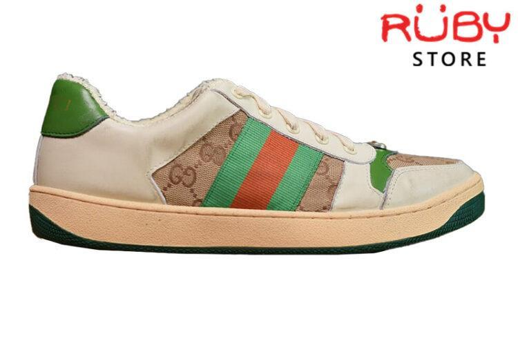 Giày Gucci Screener Leather Sneaker Replica 1:1 (Trắng Xanh Lá) 2019
