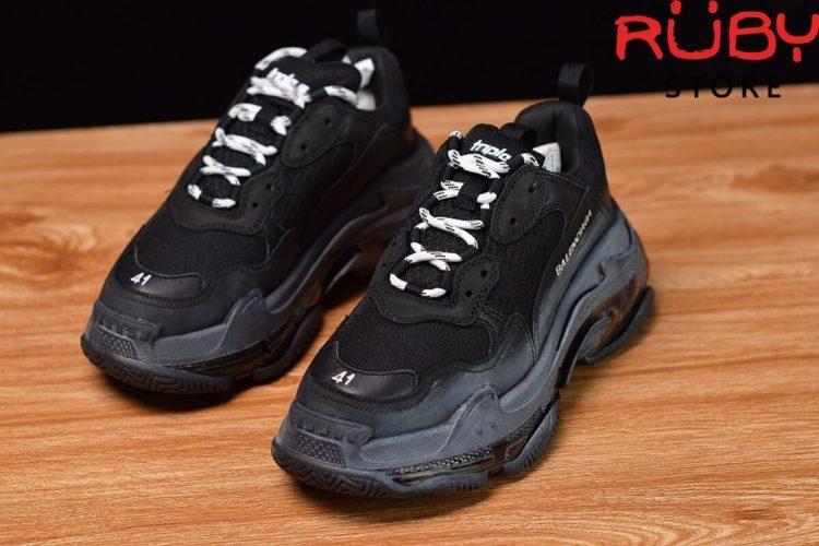 giày balenciaga triple s clear sole đen replica 1:1 bản best