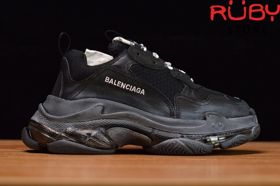 giày balenciaga triple s clear sole đen replica 1:1 bản best