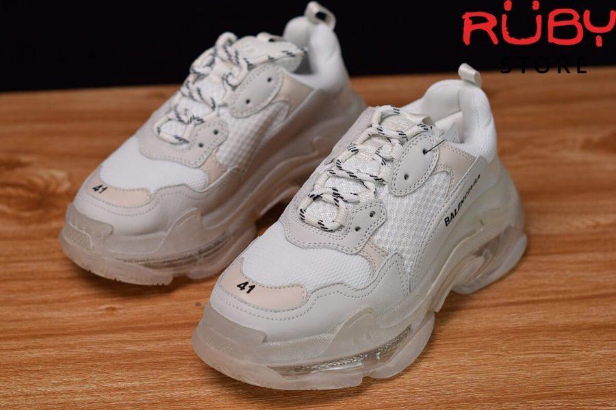 giày balenciaga triple s clear sole trắng replica 1:1 bản best