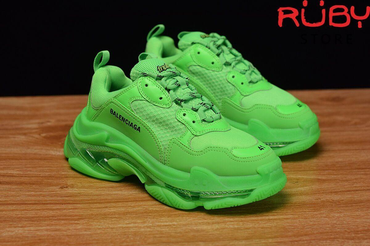 Phần upper giày Balenciaga Triple S xanh lá cao cấp