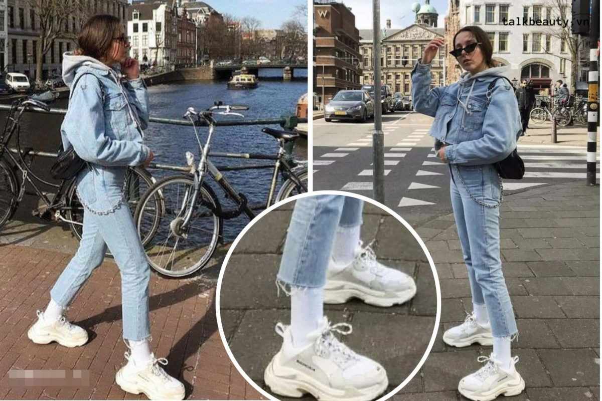 Phá cách ton sur ton giày Balenciaga Triple S