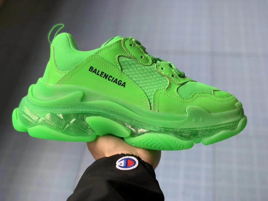 Balenciaga Triple S Clear Sole Trainers Neon Green
