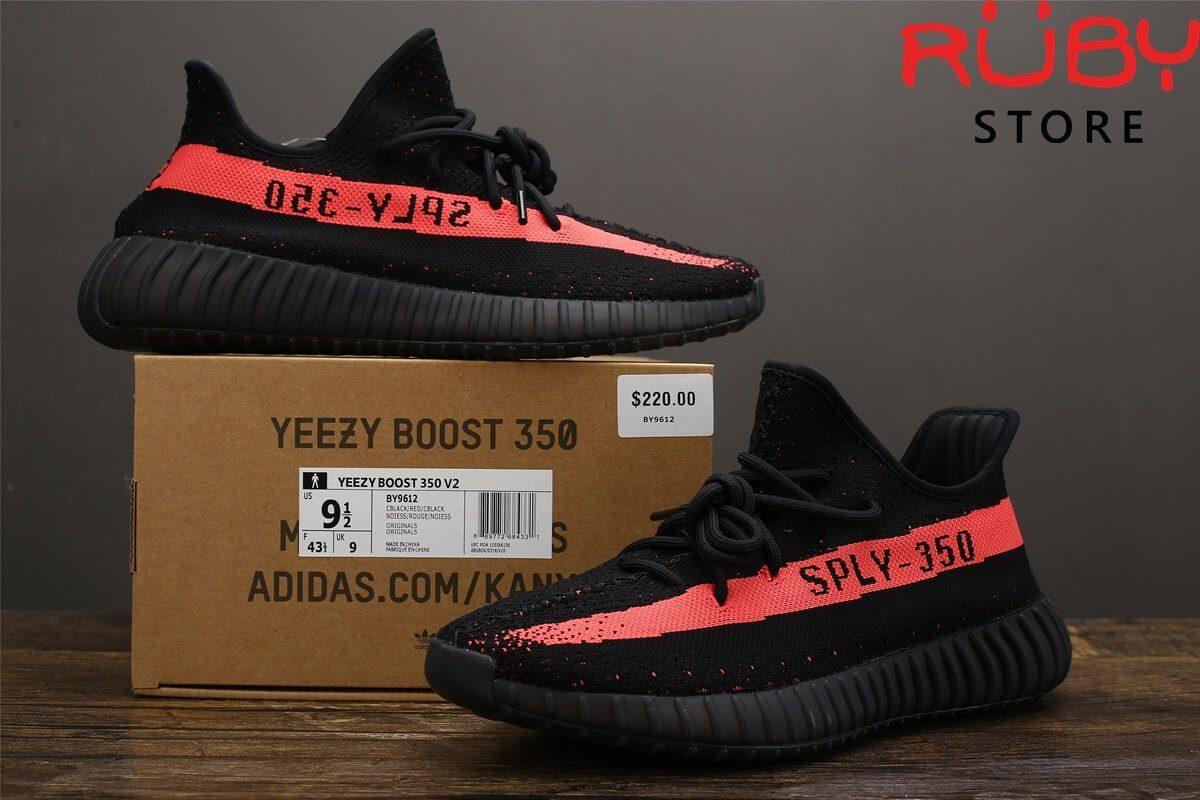giày yeezy 350 v2 black red pk god
