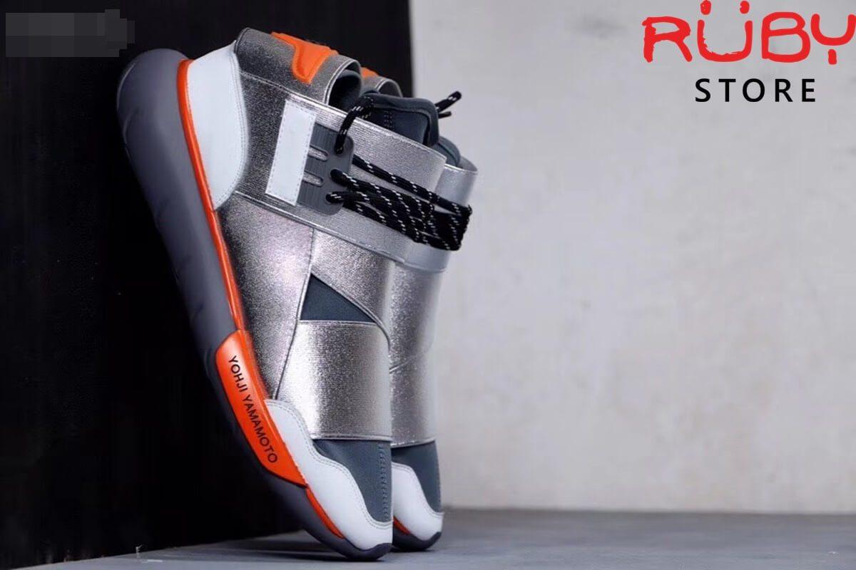 giày y3 qasa high sneakers replica 1.1 bạc cam