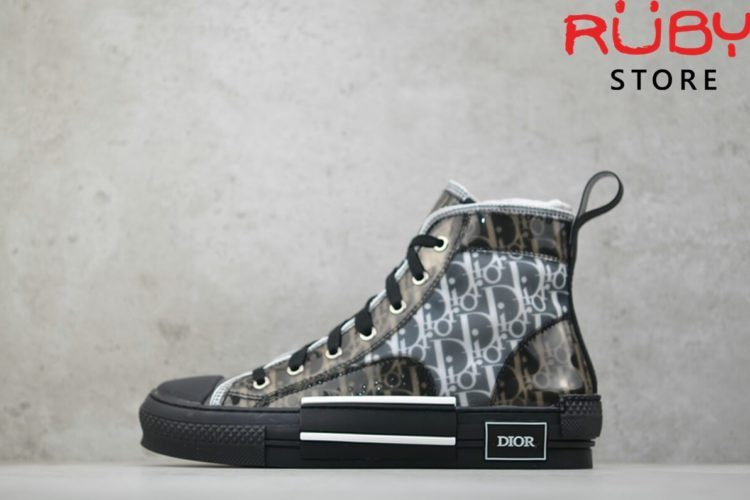 giày dior b23 high top sneaker in dior oblique đen