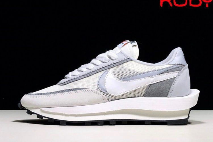 Giày Sacai Nike LD Waffle Xám Trắng Best