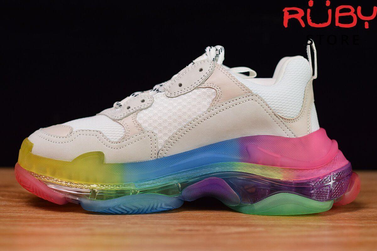 giày balenciaga triple s clear sole rainbow - mặt trái